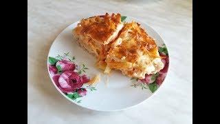 Макароны запеченные с сыром и фаршем,блюдо два в одном