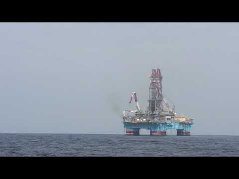 Semisubmersible drilling rig on Angola waters