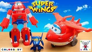 Juguetes de los SUPER WINGS en español ColorBaby - Jett transformable en robot, Torre Maletín