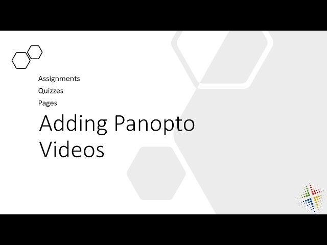 Adding Panopto Videos in Canvas