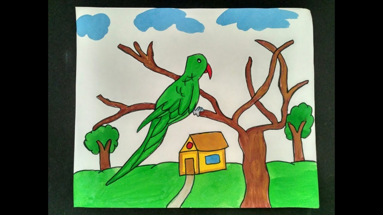 Colouring By Poster Colours Parrot Painting Birds Painting