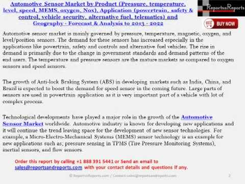 Automotive Sensor Industry - Worldwide Analysis and Forecasts to 2014 - 2022