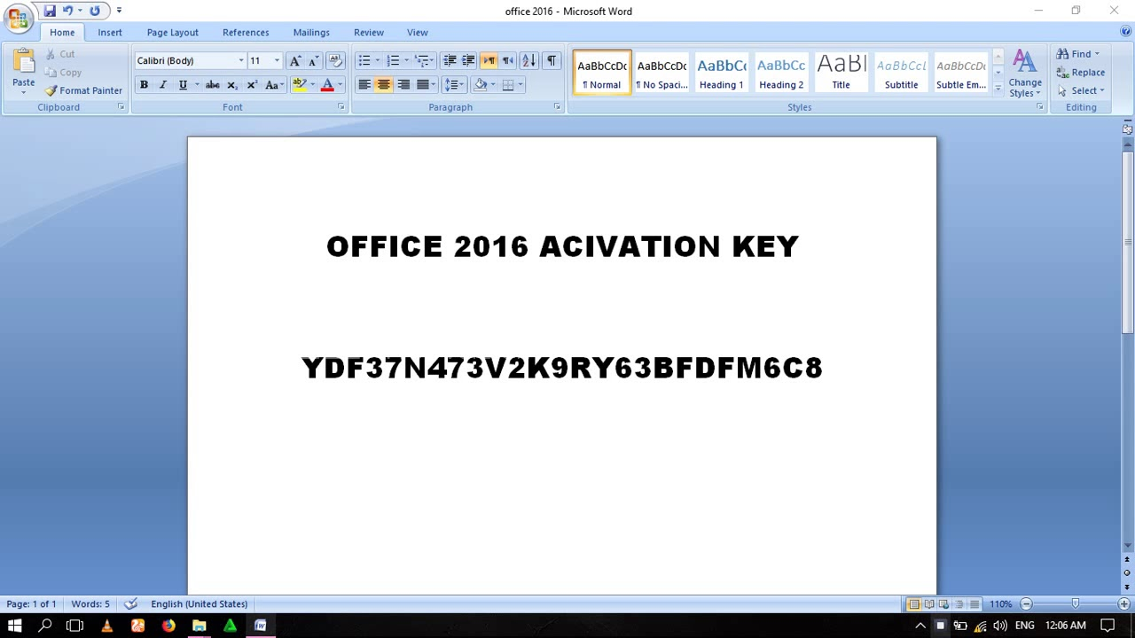 outlook 2016 product activation key