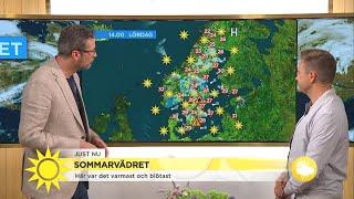 Det förväntas åska och regnskurar på många håll i landet  - Nyhetsmorgon (TV4)