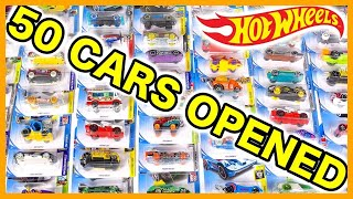 Opening 50 HOT WHEELS Card Surprise Toy Cars - Sports cars, Trucks, Muscle cars, Police, Racecars +