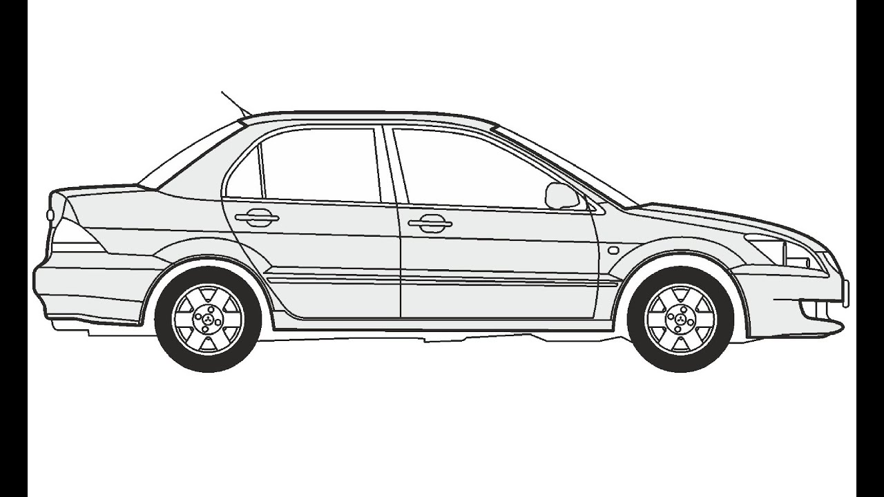 How to Draw a Mitsubishi Lancer / Как нарисовать
