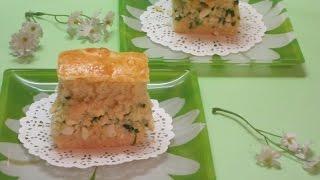 Пирог с яйцом, зеленый луком и отварным рисом