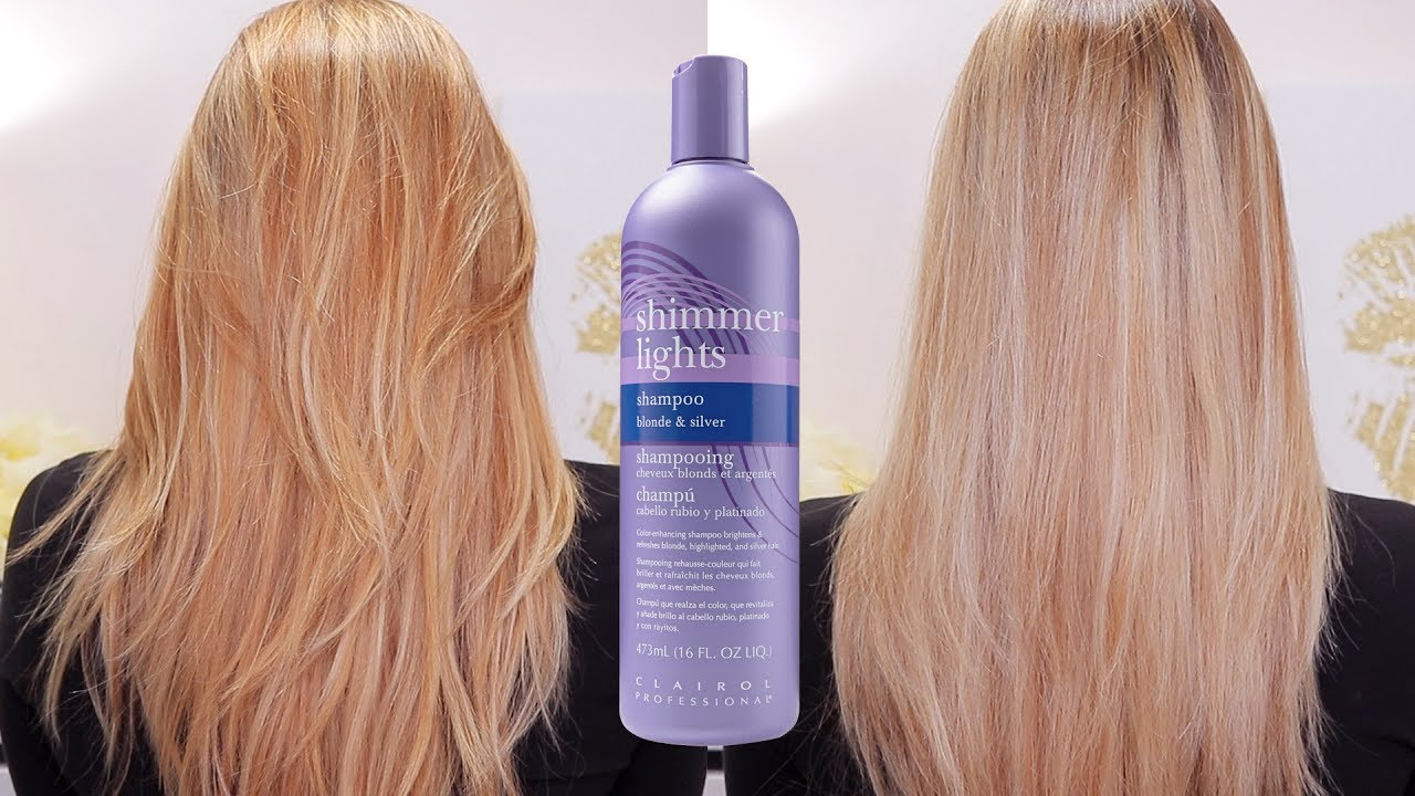 her shimmering clairol with make care shampoo lights banish shimmer up hair brassiness light