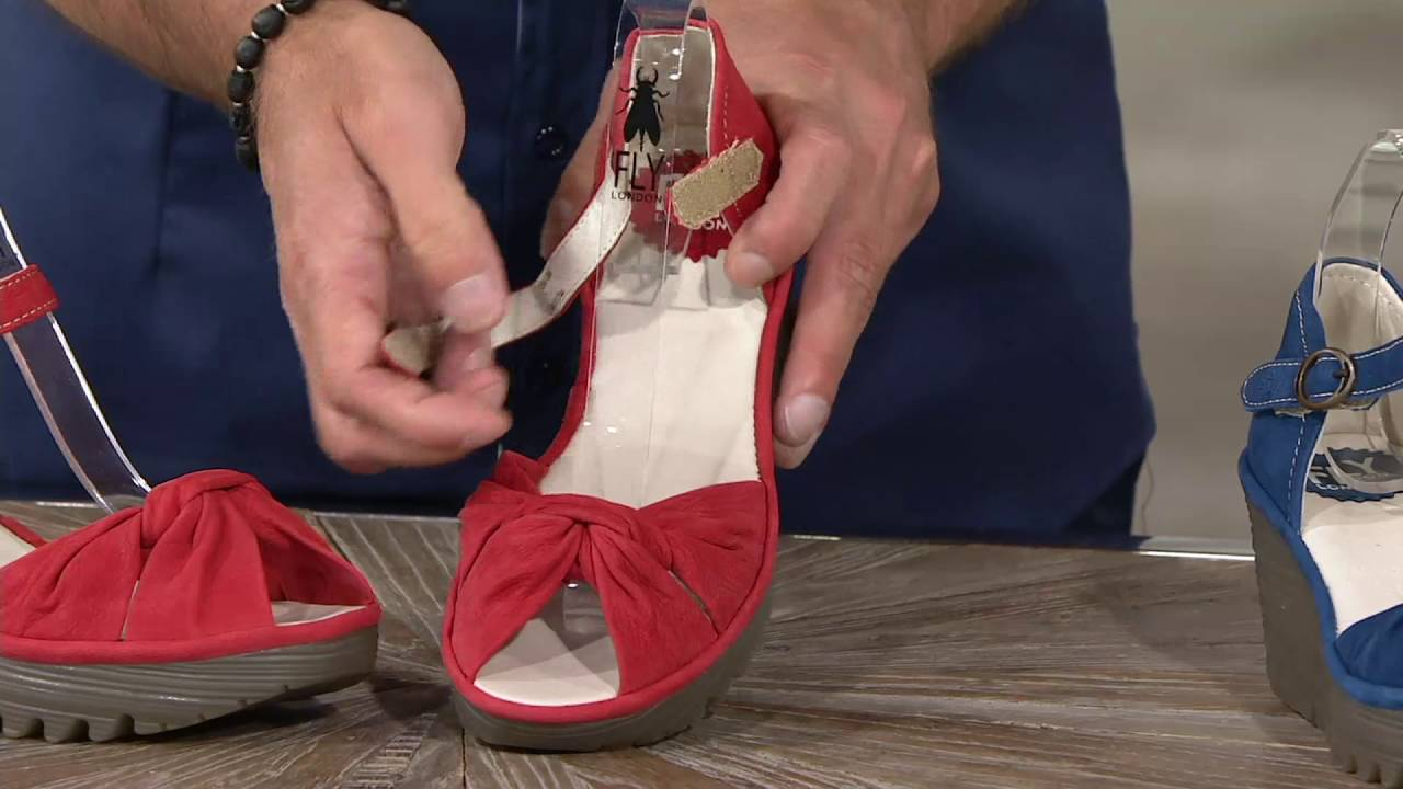 8dda1436304a FLY London Leather Peep-toe Adj. Ankle Strap Sandals - Yoel on QVC ...