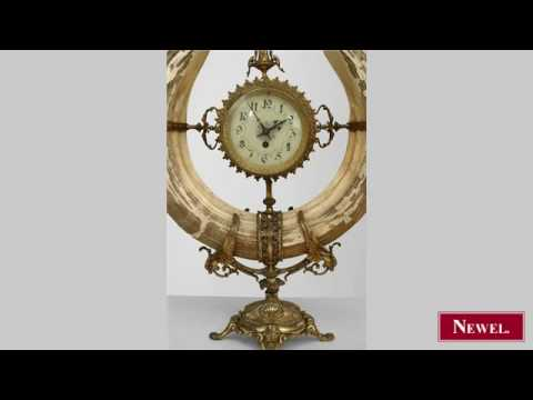 Antique French Victorian boar's tusk ivory and gilt clock