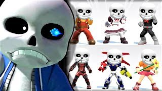 SANS UNDERTALE in ALL SMASH BROS ULTIMATE MII COSTUMES & OUTFITS (funny)