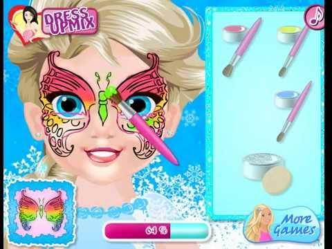 Детская Игра Мультфильм - Ребенок Эльза: рисуем бабочку на лице. Baby Elsa Butterfly Face Art