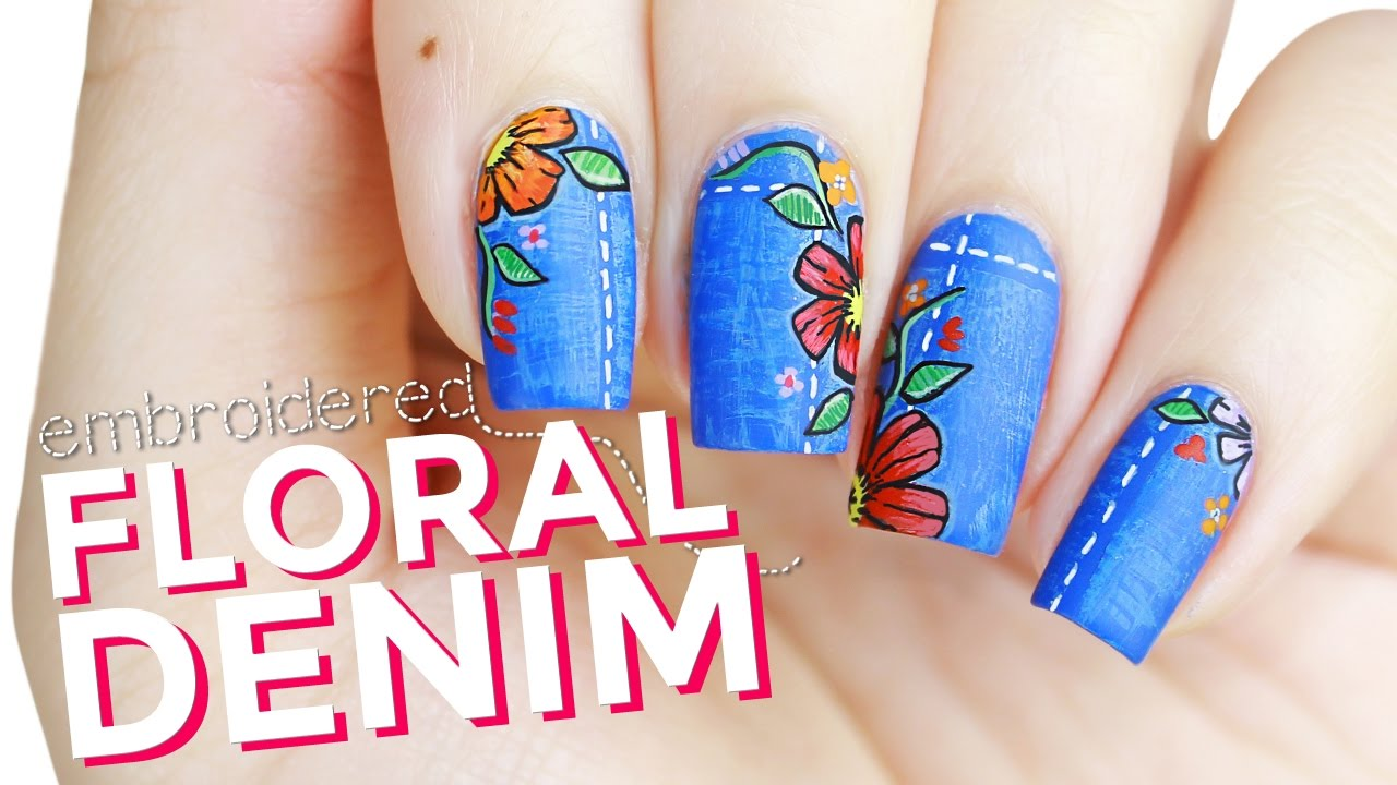 Floral Embroidered Denim Patch Nail Art - YouTube