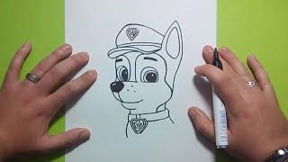 Como dibujar a Chase paso a paso - La Patrulla Canina | How to draw Chase - Canine Patrol