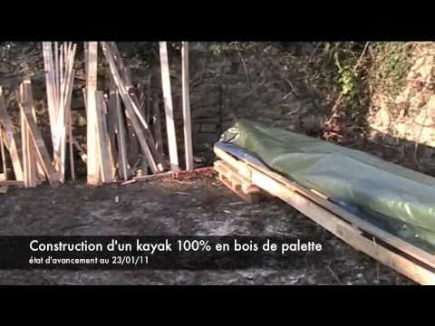 fabrication d 39 un kayak structure 100 en bois de palette youtube. Black Bedroom Furniture Sets. Home Design Ideas