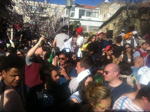 Jerusalem Purim street party 2015