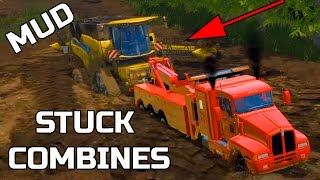 FARMING SIMULATOR 2015 | PULLING COMBINES OUT OF THE MUD | HEAVY WRECKING