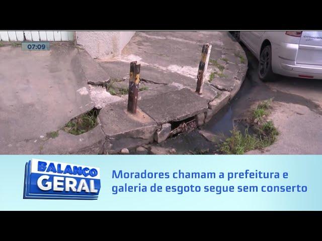 Quatro meses: Moradores chamam a prefeitura e galeria de esgoto segue sem conserto na Pitanguinha