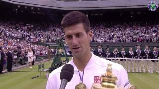 Champion Novak Djokovic's on-court interview