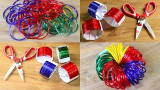 5 Best Way To Reuse Waste Bangles 💜 Best Out Of Waste Craft 💙 Diy Arts and Craft Ideas !