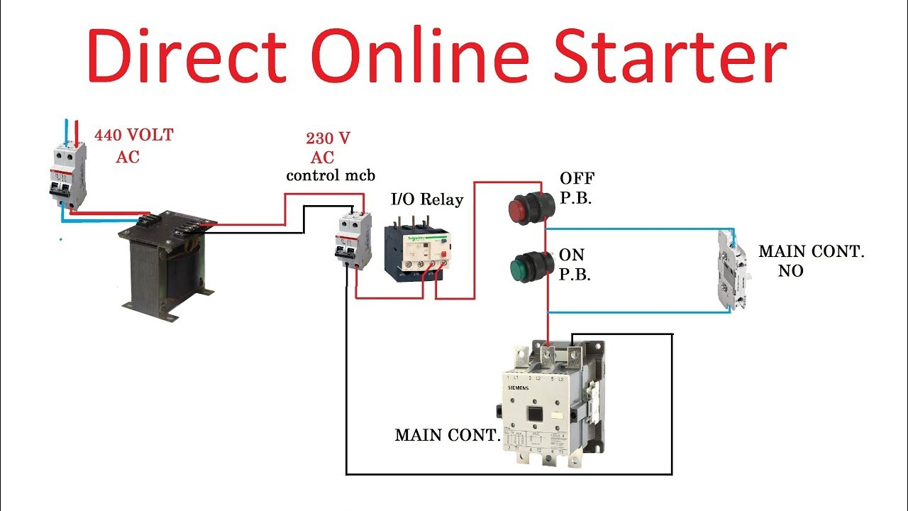 direct online starter dol starter connection in hindi youtube rh youtube com 3 phase d.o.l. starter circuit diagram
