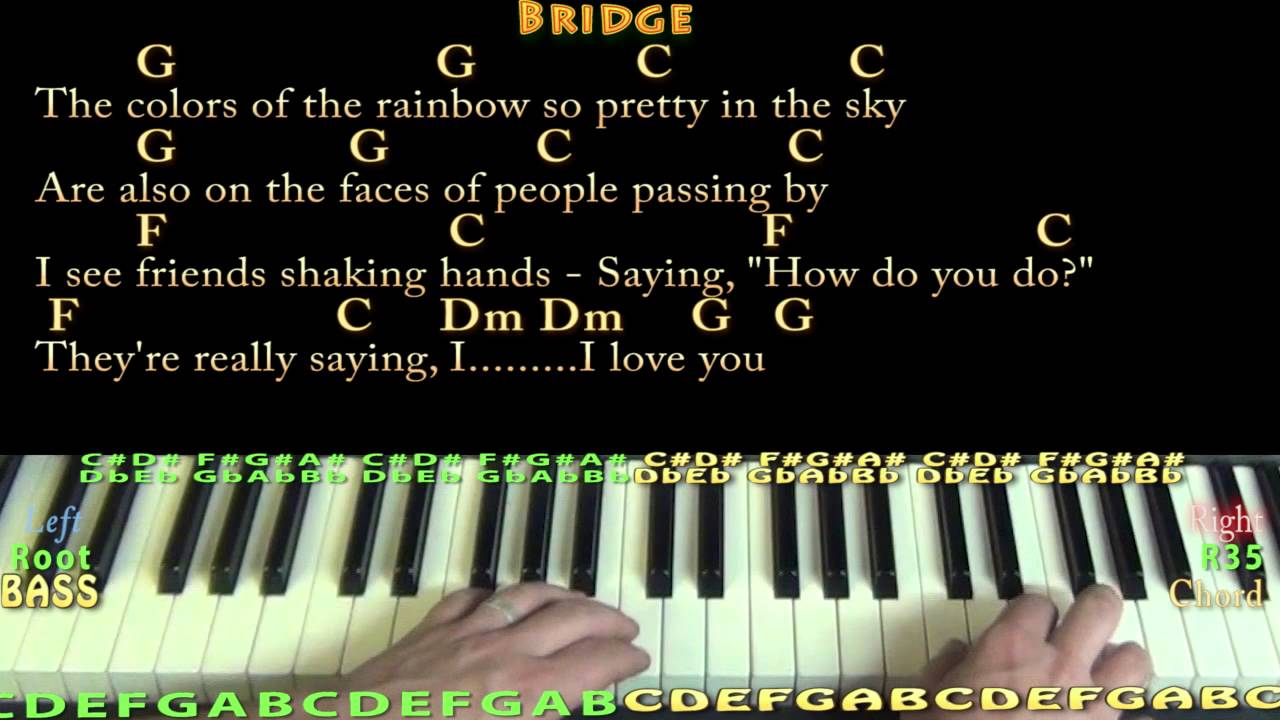 Over the rainbowwonderful world piano cover lesson with chords over the rainbowwonderful world piano cover lesson with chordslyrics hexwebz Gallery