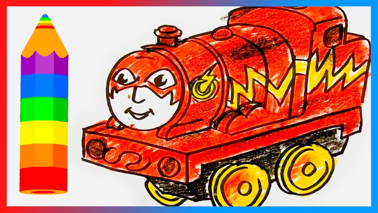How to Draw James as Flash ♦ Thomas and Friends Minis Trains - Drawing and Coloring Lesson for Kids