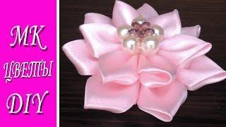 Красивые цветы из атласных лент / Цветы из лент Канзаши Мастер Класс
