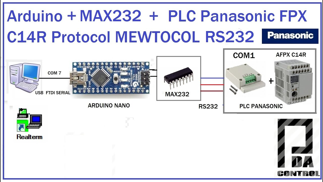 Arduino + PLC Panasonic FPX C14 + COM1 Protocol MEWTOCOL RS232 : PDAControl