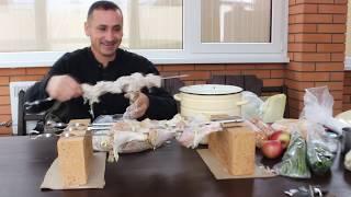 1 часть.Строим мангал с плитой под казан и готовим шашлык на обед
