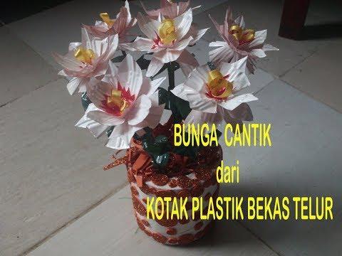 Bunga Cantik Dari Bekas Kotak Telur Plastik Youtube