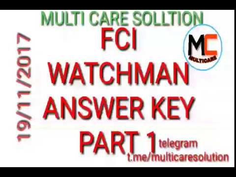 fci  watchman answer  key  food corporation of india 1 gk