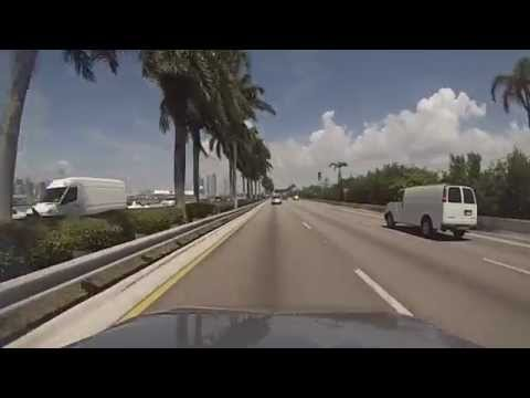 Miami Beach, Florida - Drive across the MacArthur Causeway (State Road 836) HD (2015)