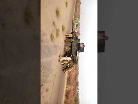 Nigerian soldiers push faulty armoured tank in the battle field