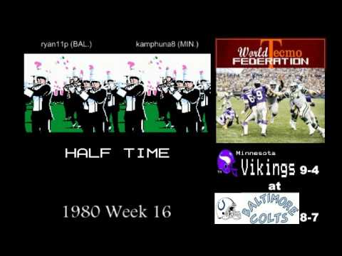 WTF 1980 Week 16 Minnesota Vikings 9-4 vs Baltimore Colts (ryan11p) 8-7