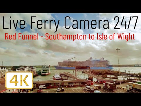 Ferry Cam - Southampton to Cowes Isle of Wight England UK Red Funnel Ferry (Live Camera 24/7 4K)