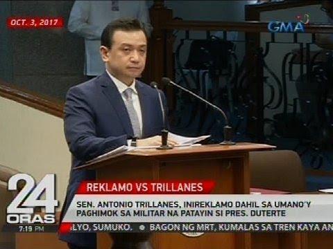 Sen. Antonio Trillanes, inireklamo dahil sa umano'y paghimok sa militar na patayin si Pres. Duterte