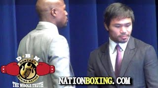 "MAYWEATHER: ""PACQUIAO IS VERY WORRIED I SEE IT IN HIS EYES"" Dontaesboxingnation"