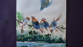 How To Draw Birds painting with using thumbs and water colour