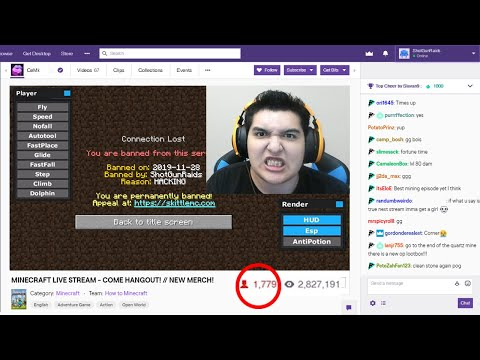 Getting Twitch Streamer BANNED For HACKING AGAIN On My Minecraft Server LIVE..