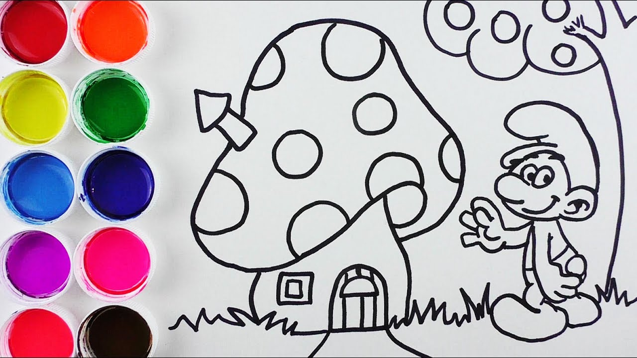 Dibuja Y Colorea Los Pitufos De Arco Iris Dibujos Para Niños Learn Colors With Pitufos Funkeep