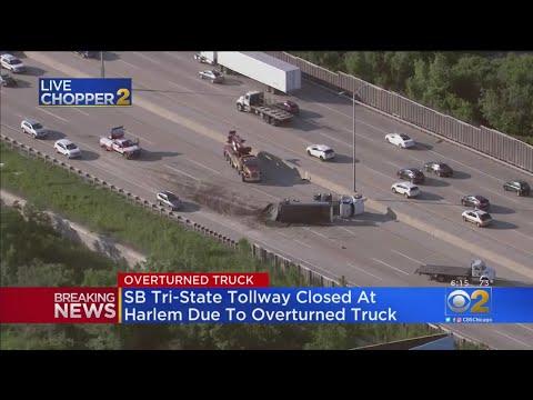 Dump Truck Accident Shuts Down I-294 - YouTube
