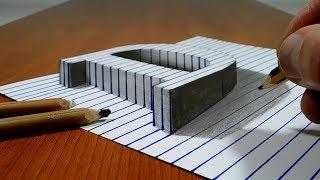 Draw a Letter D on Line Paper   3D Trick Art