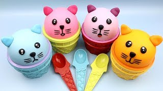 4 Colors Play Doh Ice Cream Cups Little Kitten Chupa Chups Surprise Toys LOL Kinder Surprise Eggs