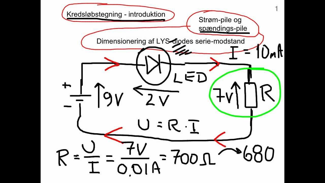 Kredsløbsdiagram - intro. Beregning af LED-modstand - af Joe El.
