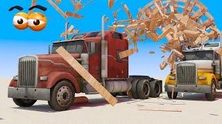 VIDS for KIDS in 3d (HD) - Semi Truck Crash Race for children - AApV
