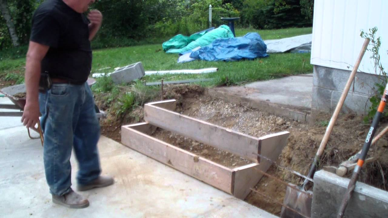 forming a set of cement steps part two youtube