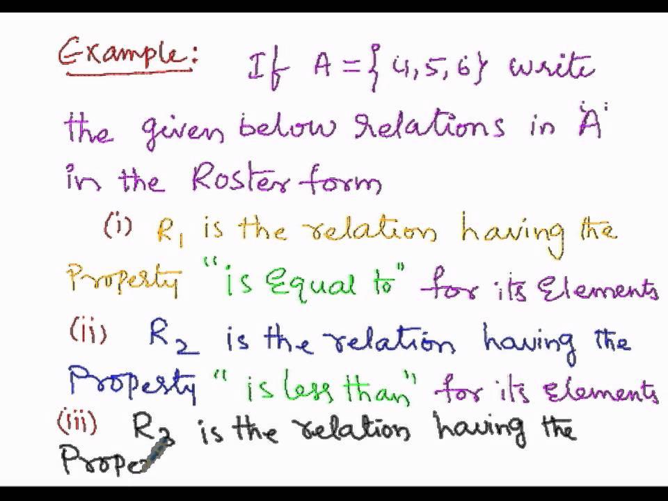 Algebra Describing Relation Roster Form part1 - YouTube