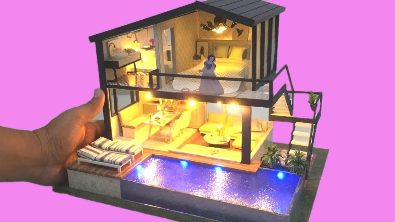Diy Miniature Dollhouse Snow White Dollhouse Villa With Swimming Pool Youtube