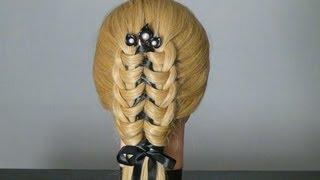 Прическа с лентой на длинные волосы. Easy hairstyle  for long hair.